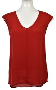 J.Crew Womens 0 V Neck Cap Sleeve Wtw Polyester Shirt Top Red