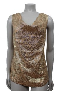 J.Crew Golden Metallic Paisley Top Tan