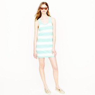 J.Crew short dress Ivory Teal Rugby Striped Tank on Tradesy