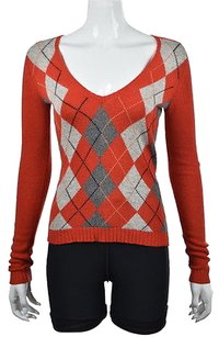 J.Crew J Crew Womens Orange Argyle V Sweater