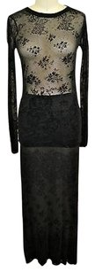 Jean-Paul Gaultier Jean Paul Gaultier Maille Femme Black Sheer Top Long Skirt Set