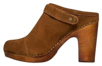 Jeffrey Campbell Clog Buckle Detail High Heel Booties Tan Platforms