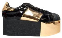 Jeffrey Campbell Leather Upper Sneaker Heel Chunky Black Sandals