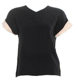 Jenni Kayne Silk Shortsleeve Cuffed Top Black