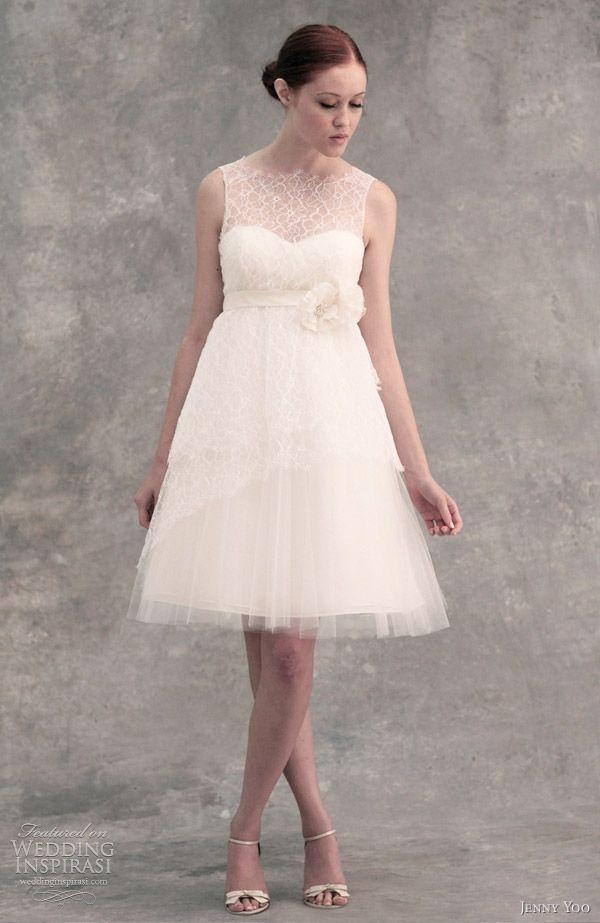 Attractive Jenny Yoo White Lace Tulle Bella Modern Wedding Dress Size 8 (M) ...