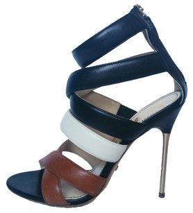 Jerome C. Rousseau Leather Ankle Strap Stiletto Pumps black brown beige Sandals