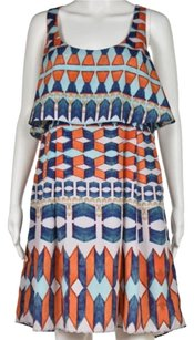 Jessica Simpson Womens Printed Above Knee Sleeveless Sheath Dress