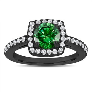 Fancy Green Diamond Engagement Ring 14k Black Gold Vintage Style