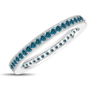 Eternity Fancy Blue Diamond Wedding Band Eternity Ring Anniversary Ring Stackable Ring 14k White Gold 0.45 Carat Pave