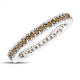 Fancy Champagne Brown Diamond Eternity Wedding Band Eternity Ring Anniversary Ring Stackable Ring 14k White Gold 0.45