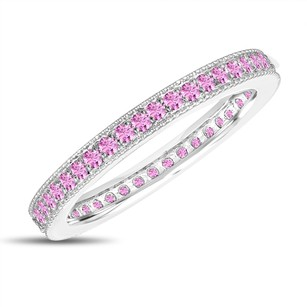 Pink Sapphire Eternity Wedding Band Eternity Ring Anniversary Ring Stackable Ring 14k White Gold 0.50 Carat Pave