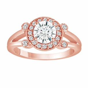 White Sapphire Engagement Ring 14k Rose Gold 1.08 Carat With Side Diamonds Unique Halo Pave Handmade Certified