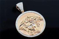 Jewelry For Less 10k Pink Rose Gold Mens Diamond Medusa Head Piece Greek Key Pendant Charm 1 Ct.