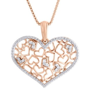 Jewelry For Less 10k Rose Gold Diamond Ladies Multi Heart Pendant Miligrain Edged Charm 0.06 Ct.