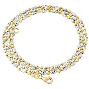 Other 10k Two Tone Gold 2mm Typhoon Moon Cut Italian Bead Chain Necklace - Inch