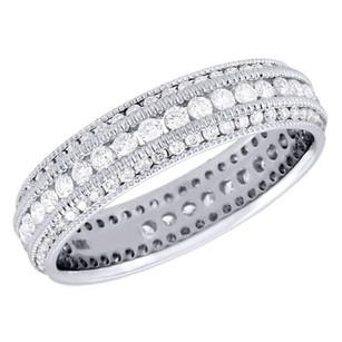 Jewelry For Less 10k White Gold Diamond Eternity Wedding Band Mil-grain Anniversary Ring 1 Ct.