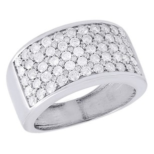 Jewelry For Less 10k White Gold Diamond Wedding Band Mens Round Cut Pave Anniversary Ring Ct