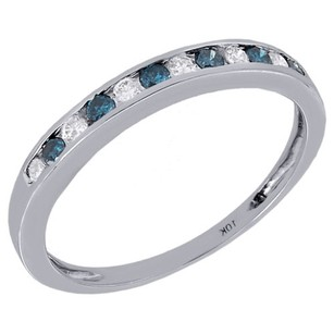 Jewelry For Less 10k White Gold Ladies White Blue Diamond Anniversary Wedding Band Ring 14 Ct.