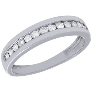 Jewelry For Less 10k White Gold Mens Round Cut Genuine Diamond Wedding Band Ring 5.50mm 0.60 Ct.
