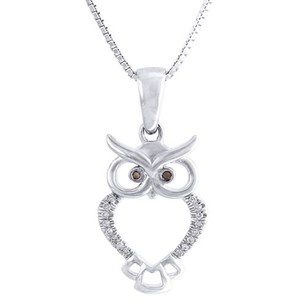 10k White Gold Red Diamond Ladies Owl Pendant Animal Charm 18 Chain 0.05 Ct.