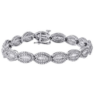 Jewelry For Less 10k White Gold Round Baguette Cut Diamond Bracelet 7 Oval Shape Link Ct.