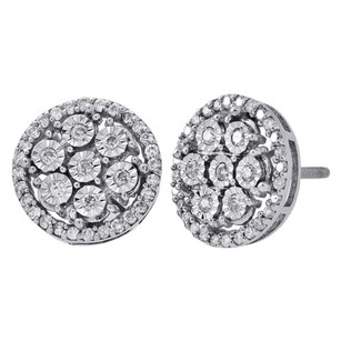 Jewelry For Less 10k White Gold Round Cut Diamond Circle Halo Studs 12mm Pave Earrings 0.75 Ct.