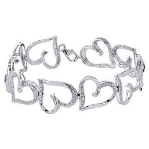 Other 10k White Gold Round Diamond Bracelet 14.50mm Wide Heart Shape Link 7 18 Ct.