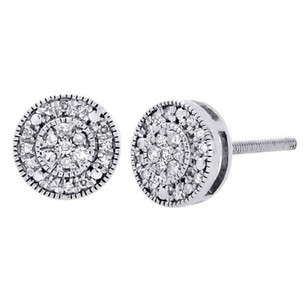 Other 10k White Gold Round Diamond Milgrain Circle Pave Studs 7.5mm Earrings 0.15 Ct.