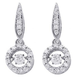 Other 10k White Gold Solitaire Dancing Diamond Circle Drop Dangle Earrings 0.63 Ct.