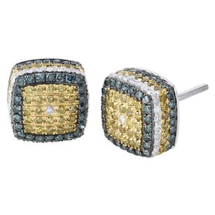 Other 10k White Gold Yellow Blue Round Diamond 3d Studs Square Cube Earrings 1.80 Ct