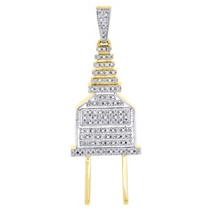 Jewelry For Less 10k Yellow Gold Diamond 3d Plug Socket Fuse Pendant 1.85 Mens Pave Charm .21 Ct