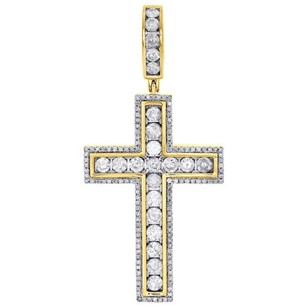 Jewelry For Less 10k Yellow Gold Diamond Cross Pendant 2 Mens Ladies Channel Set Charm 1.86 Ct.