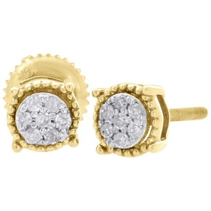 10k Yellow Gold Diamond Flower Stud Milgrain Halo 5.30mm Circle Earrings 0.10 Ct