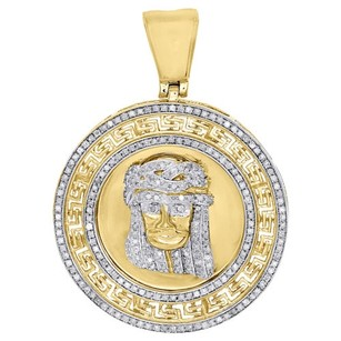 Jewelry For Less 10k Yellow Gold Diamond Jesus Piece Pendant Pave Greek Key Medallion Charm 1 Ct.