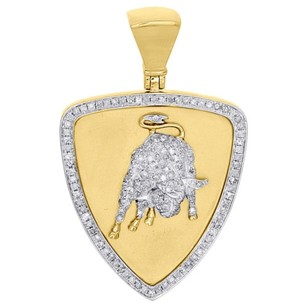 Other 10k Yellow Gold Diamond Medallion Lamborghini Bull Pendant Pave Charm 0.88 Ct.