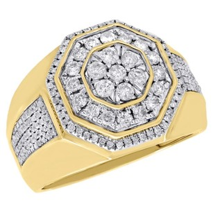 10k Yellow Gold Diamond Pinky Ring Octagon Step Tier Statement Mens Band 1.10 Ct