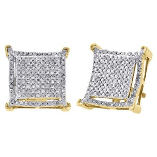 Jewelry For Less 10k Yellow Gold Diamond Stud 11.5mm Step Square Prong Pave Earrings 0.33 Ct.