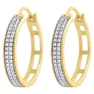 Jewelry For Less 10k Yellow Gold Genuine Diamond Hoops Huggie 0.75 Ladies Pave Earrings 0.26 Ct.