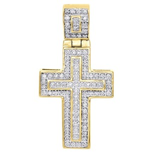 Jewelry For Less 10k Yellow Gold Genuine Diamond Mini Cross Pendant 1.45 Mens Flat Charm 0.25 Ct