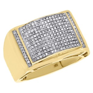 10k Yellow Gold Genuine Round Diamond Domed Pinky Ring Mens Pave Band 0.50 Ct.