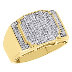 Jewelry For Less 10k Yellow Gold Genuine Round Diamond Stepped Pinky Ring Mens Pave Band 0.51 Ct.