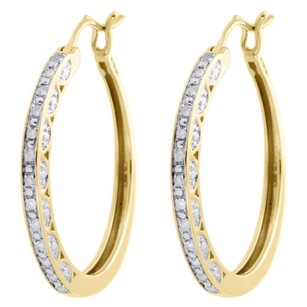 Jewelry For Less 10k Yellow Gold Ladies Round Diamond Hoops Hinged Earrings 0.95 Long 0.17 Ct.