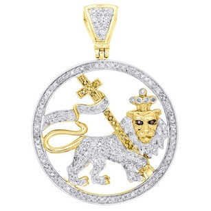 Jewelry For Less 10k Yellow Gold Lion Of Judah Genuine Diamond Medallion Pendant 1.70 1.35 Ct.
