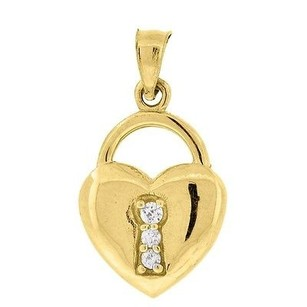 Jewelry For Less 10k Yellow Gold Lock Heart Cz Pendant 0.85 Charm