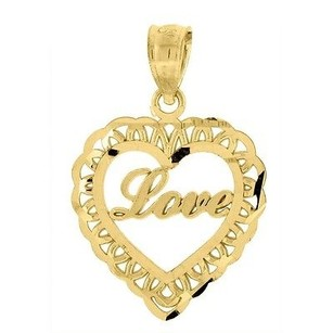 Jewelry For Less 10k Yellow Gold Love Heart Pendant 0.85 Cut Out Charm