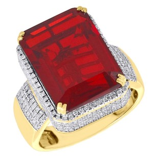 Jewelry For Less 10k Yellow Gold Mens Diamond 3d Gemstone Center Fashion Pinky Ring Pave 1 Ct.
