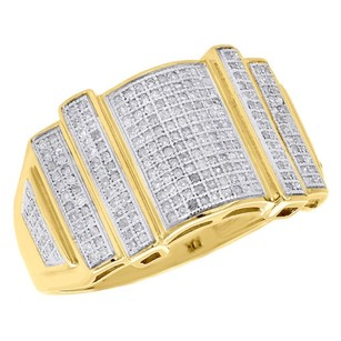 Other 10k Yellow Gold Mens Diamond Statement Pinky Ring Round Cut Pave Set 0.60 Ct.