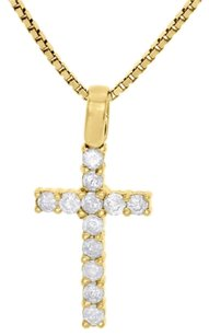 10k Yellow Gold Mens Ladies Round Solitaire Diamond Cross Pendant Charm 0.80 Ct.