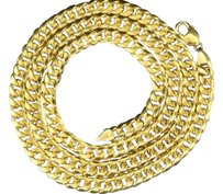 Other 10k Yellow Gold Miami Cuban Semi Hollow 9mm Wide Chain 36 Necklace