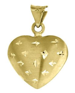 Jewelry For Less 10k Yellow Gold Puff Heart Pendant 0.75 Diamond Cut Charm